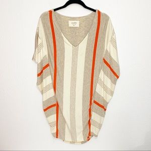 Puella Striped Slouchy Tunic Dress Bat Sleeve